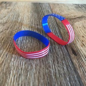 Jewelry - US flag Bracelet Silicon Wristband Rubber Stretch